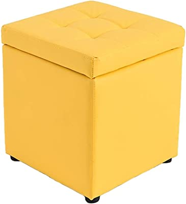 Folding Storage Ottoman Foot Stool Change Shoe Stool Makeup Stool Leather Storage Stool with Lid Ottoman Square Shoes Benchpatible Be applicab