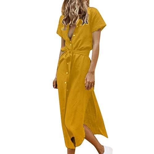 Lulupi Damen Blusenkleid Kurzarm V-Ausschnitt Shirt Kleid Elegant Maxikleid Leinenkleid Knopfleiste Schlitz Casual Strand Sommerkleid