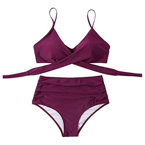 Conjunto de bikini para mujer, de cintura alta, 2 piezas, traje de baño sólido, talla grande, traje de baño, Vino, S
