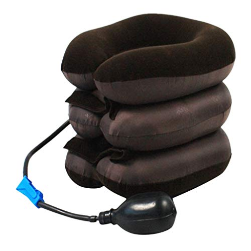 Premium Neck Traction Professional Air Neck Relaxer Therapy Neck Stretcher Cervical Collar Device Pain Relief Support (Coffee)