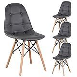 N A MUEBLES HOME - Juego de 4 sillas de comedor, tapizadas, de piel sintética, capitoné, con...