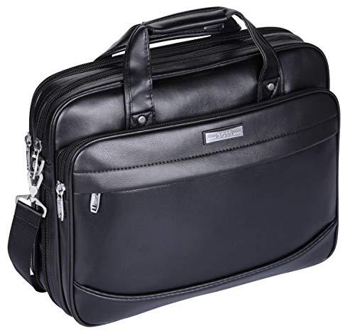 "BOSS ARON Men's Large Microfiber Leather 15.6"" Briefcase Laptop Business Bag (CB3-Black)"