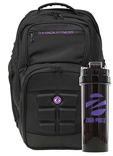 6 Pack Fitness Expedition Backpack W/ Removable Meal Management System 500 Black/Neon Purple w/ Bonus ZogoSportz Cyclone Shaker