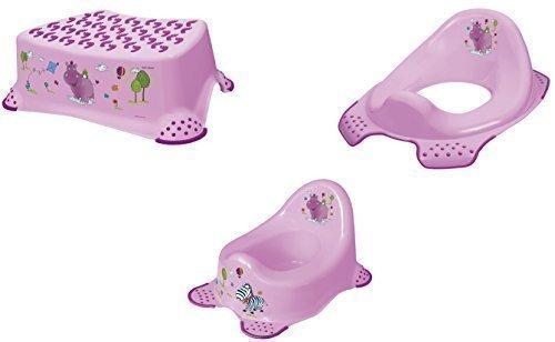 3er Set Hippo lila Topf + WC Aufsatz + Hocker Toilettentrainer