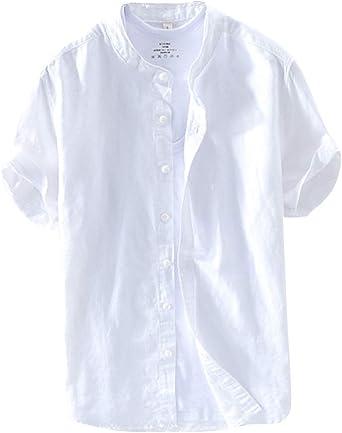 Camisa De Lino Hombre Manga Corta Cuello Mao con Botones