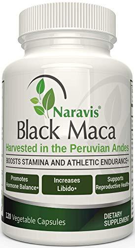 Naravis Gelatinized Black Maca Root - 1000mg Serving - 120 Veggie Capsules - Pure Organic Lepidium Meyenii from Peru - Supports Reproductive Health - Non-GMO Vegan and Gluten Free Supplement