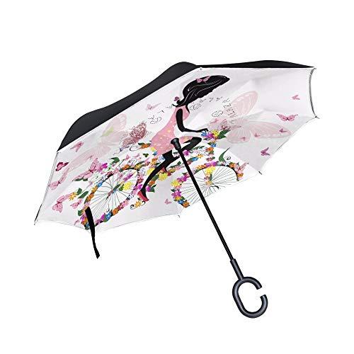 Meisje op een fiets met een romantische vlinders paraplu, dubbele laag auto omgekeerde paraplu vrouw, mode persoonlijkheid vouwen mini draagbaar