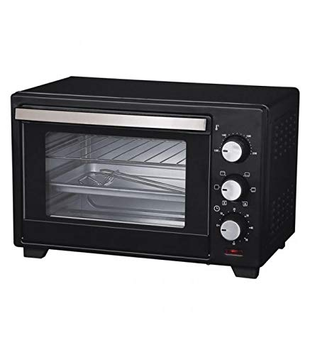 COMELEC HO2504C - Mini Horno Eléctrico de Convección, potencia 1600 W, capacidad 25 L, con termostato, acero inoxidable, con bandeja y rejilla, medidas exteriores: 29 x 34 x 46 cm, color Negro