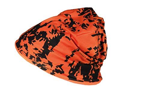 Hubertus Signal Mütze Orange Micro Fleece Wendemütze Drückjagd Orange