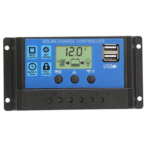 Controlador de carga solar Dgtrhted, 10A 12V/24V Control PWM Parámetro automático Pantalla LCD ajustable con temporizador de carga USB dual Ajuste de horas de encendido/apagado Regulador solar(10A)