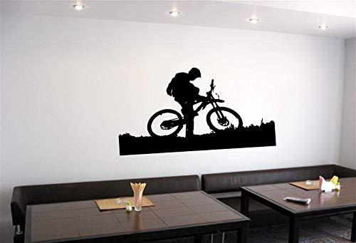 yaonuli Muursticker mountainbike fiets en bestuurder schattige sportruimte sticker wandmode