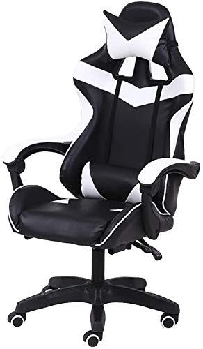 YONGYONGCHONG Silla de oficina para juegos, silla reclinable, silla de oficina giratoria con reposacabezas ajustable y reposapiés Retractible (color blanco, tamaño: sin reposapiés)
