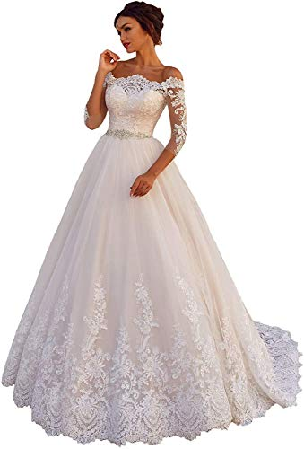 Melisa Beading Lace Applique Off The Shoulder Wedding Dresses for Bride with Train Beach Bridal Ball Gowns Ivory