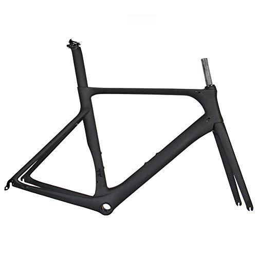 TQ Vollcarbon Rennrad Rahmen DI2 & Machinery Rennrad Carbon Rahmenset BB86 50.5/53 / 56cm,Blackmatte,50cm