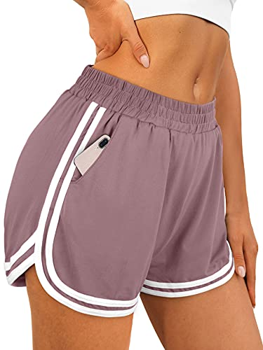 OFEEFAN Womens Summer Shorts Casual Loose Fit with Pockets Elastic Waist Pueple XXL