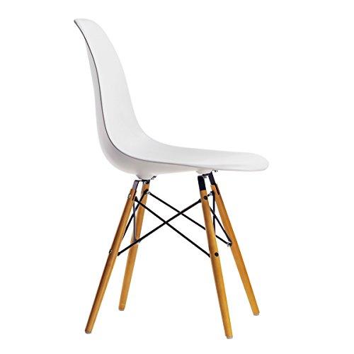 CASA FERRO Silla Blanca Eames. ¡Silla de diseño, cómoda y Elegante! para Comedor o Escritorio.