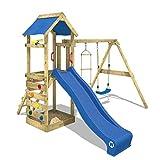 WICKEY Aire de jeux FreeFlyer Portique de jeux en bois Cabane pour enfants avec balançoire, toboggan bleu, mur d'escalade, échelle de cordes, bac à sable + Accessoires