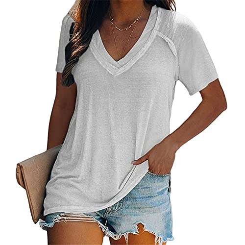 Women T-Shirt Oversized Loose Comfortable Casual Fashion Solid Color V-Neck Short-Sleeved Women Shirt Basic Classic All-Match Women Top Summer Women Blouse B-White 4XL