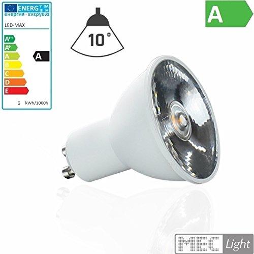 GU10 LED Leuchtmittel - 400lm - 6W - Lichtfarbe warm-weiß 2700-3200K 10° Abstrahlwinkel Spot/Strahler