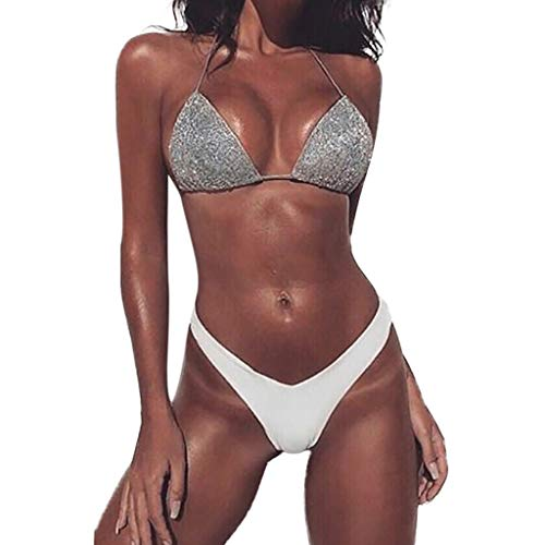 Frashing Neuer Sommer Triangel Bikini mit Pailletten Damen Strand Strap Bikini Set Push up Zwei Stück Sportliches Bademode Strand Bikini Seaside Urlaub