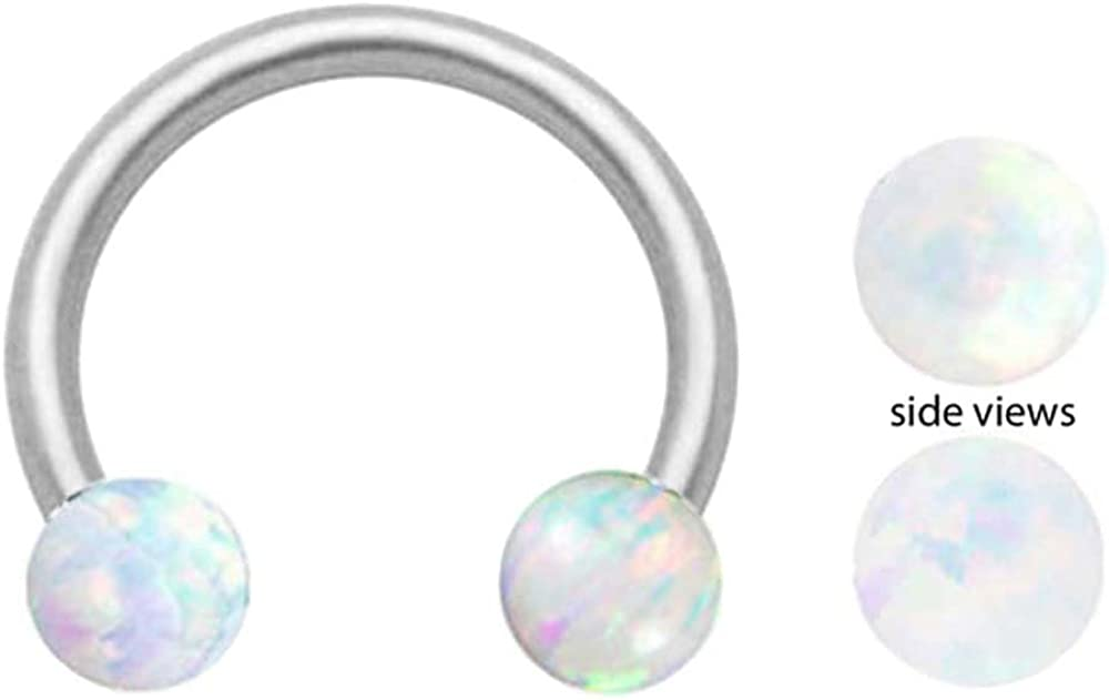 Sparkling Synthetic White fire Opal Horseshoe Hypoallergenic 316L Stainless Steel Surgical Steel Ring Lip, Belly, Nipple, Cartilage, Tragus, Septum, Earring Body Jewelry Piercing Hoop - 14 Gauge 14g