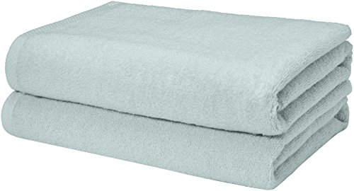 AmazonBasics Quick-Dry, Luxurious, Soft, 100% Cotton Towels, Ice Blue - Set of 2 Bath Towels