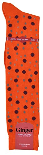 ExtraFine Merino Over the Calf Fancy Bollicine Dots Dress Socks - One Pair Pine Ginger