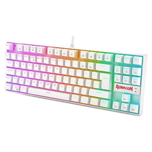 Redragon K552 Mechanische Gaming Tastatur 60% Mini TKL Keyboard mit Rote Schalter 87 Tasten für PC Gaming (RGB Beleuchtet - UK QWERTY)
