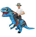 Disfraces de Carnaval de Halloween Dinosaurio Adulto con Sombrero Disfraz Inflable de Tyrannosaurus Montar Dinosaurio Disfraz de muñeca de Dibujos Animados de Halloween-Azul_El 150-190cm
