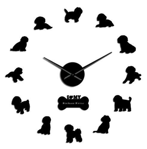 Bichon Frise Reloj de Pared Grande con Efecto Espejo 3D Bichón Tenerife Reloj silencioso sin tictac Reloj de Pared Bichon à Poil frisé 37 Pulgadas