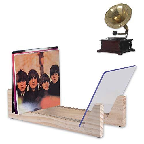 hooks Schallplattenregal, Einheit aus Vintage-Kiefer mit Acrylenden, Plattenhalter für bis zu 25 Alben