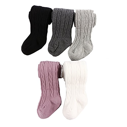 Looching 5 Pack Baby Toddler Girls Cute Cable Knit Cotton Tights Pantyhose Leggings Stocking Pants(12-24 Months,Normal Style-5 pack)