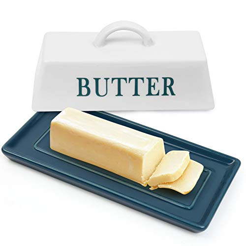 LotFancy Porcelain Butter Dish with Lid, Ceramic Butter Holder Container with Handle and Plate for Countertop, Covered Butter Stick Keeper Tray for East West Coast Butter