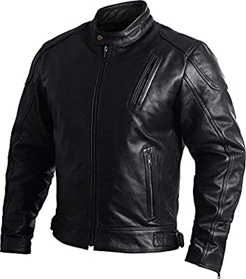 Mens Leather Motorcycle Jackets Black Moto Riding Motorbike Racing Cafe Racer Biker Jacket CE Armored (M) from HWK