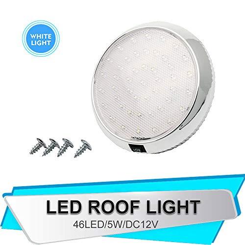 Plafonnier LED, Riloer 12V Car Dome Lampe de toit intérieure pour camping car caravane RV remorque camion véhicule bateau avec 46 lumières LED, blanc