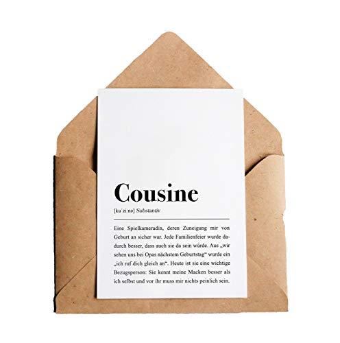 Cousine Definition: Grußkarte mit Umschlag