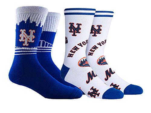 PKWY Unisex 2-Pack MLB New York Mets Mixed Crew Socks (Large (Men's 6-12/Women's 8-12), Mix & Horizon Crew)