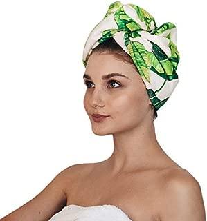 Kitsch Microfiber Hair Towel Wrap for Women, Hair Turban for Drying Wet Hair, Easy Twist Hair Towels (Palm Leaves)
