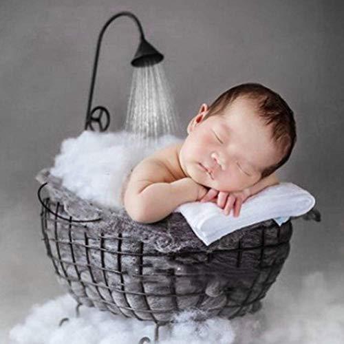 szlsl88 Badkuip Duurzame Studio Photo Sofa Roestvrij Decoratie uitgeholde Pasgeboren Baby IJzeren Mand Posing Stabiele Fotografie Props Accessoires(Zwart)