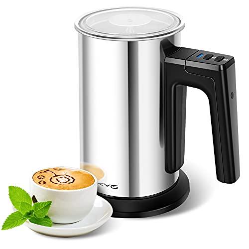 KYG Espumador de Leche Electrico Batidora de Leche 500W de Acero Inoxidable 3 modos Espuma en Caliente Frío para Café con Leche, Latte, Capuchino