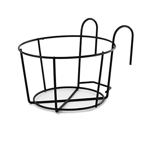Younge - Estante de hierro para colgar plantas de balcón redondo, para macetas, valla al aire libre, color blanco y negro, negro, Large