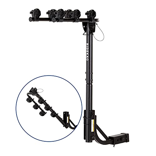 """KAC S3 1.25"""" and 2"""" Hitch Receiver 3-Bike Capacity Hanging Bicycle Carrier - Hitch Mounted - Adapter Included - Double Folding, Smart Tilting Design – RV Use Prohibited"""