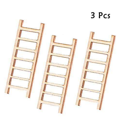 3pc Mini-Holz-Stufenleiter Möbel Werkzeuge Feegarten Aktion Figur DIY Mikro GNOME Terrarium Geschenk Miniatures Decor