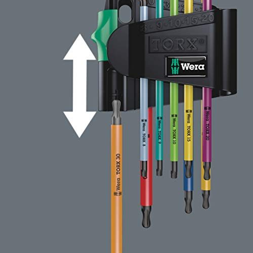 Wera 05073599001 967 Spkl/9 Torx Bo Multicolor L-Key Set for Tamper-Proof Torx Screws, Blacklaser, 9 Pieces