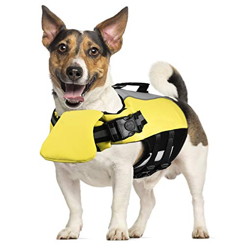POPETPOP Dog Life Jacket for Swimming - Pet Float Coat Reflective Dog Vest Saver Swimsuit Preserver with Padding for Small, Middle, Large Dogs(Size M)