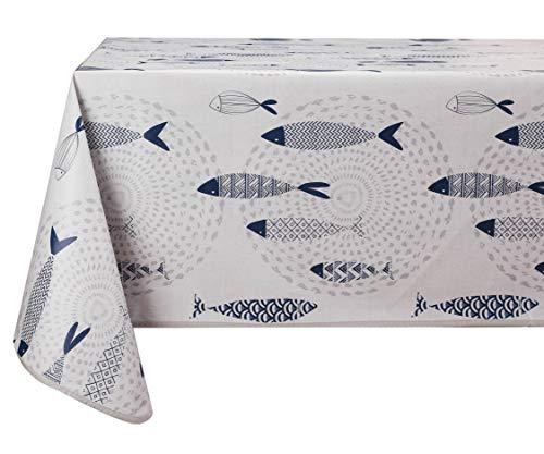 Vinylla Tischdecke aus Vinyl, leicht zu reinigen, Motiv: Fisch, 140 x 140 cm