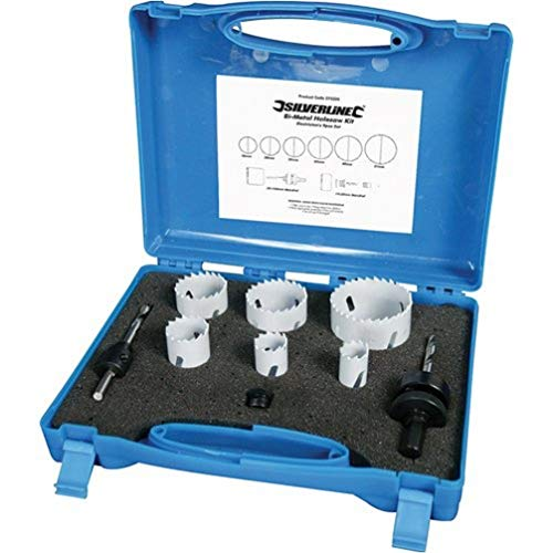 Silverline 273220 - Juego de coronas bimetal para electricistas, 9 pzas 18 - 51 mm