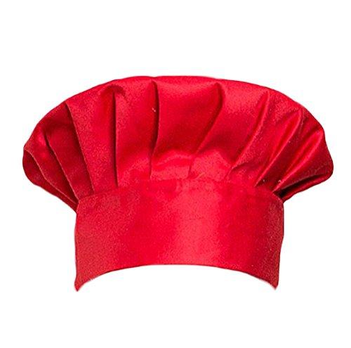 Unisex Chef Hat Mens Women Elastic Adjustable Elastic Cooking Baker Chef Cap workhat CF9015 Red