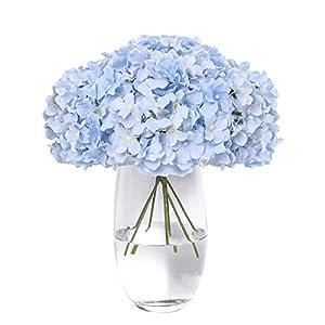Tifuly Hydrangea Silk Flower 12 Heads Artificial Hydrangea Silk Flowers Head for Home Wedding Decoration with Long Stems(Sky Blue)