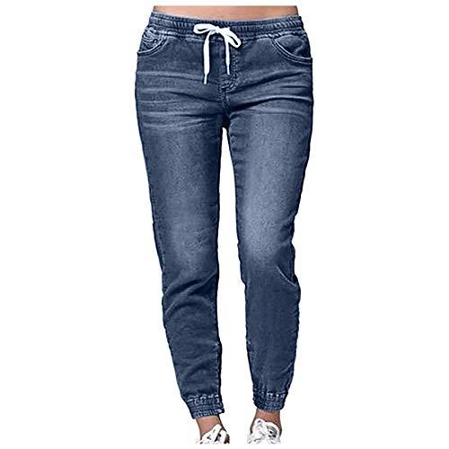 QCool Women Loose Boyfriend Jeans Drawstring Elastic Waist Distressed Stretchy Denim Joggers Pants with Pockets Plus Size